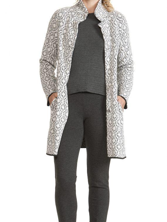 Cappotto Spolverino Donna Bianca nera lana cashmere linea Rombi D__RO6701_EH__BN 1