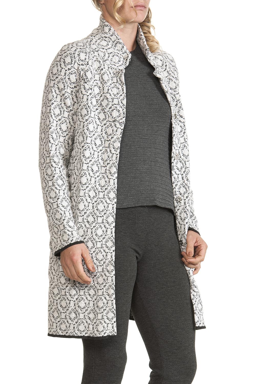 cappotto donna fantasia bianco nero lungo