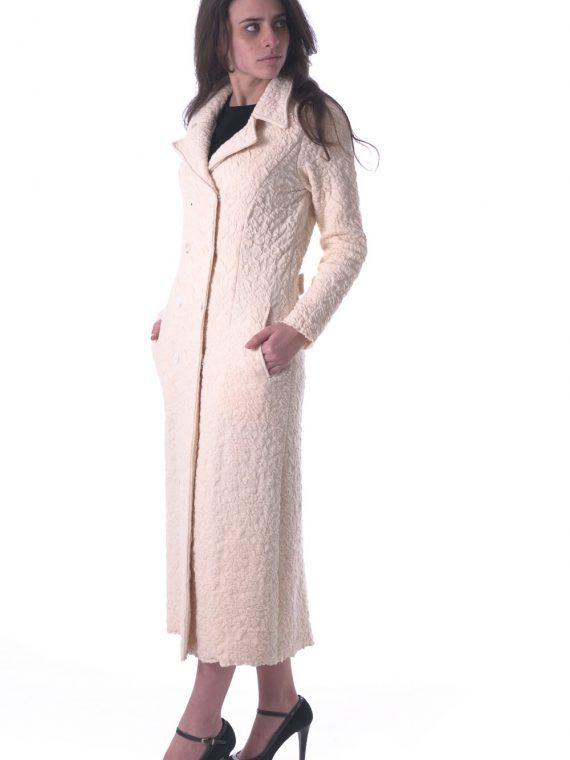 Agostyle Cappotto bianco goffrato lana cotone elasticizzato artigianale