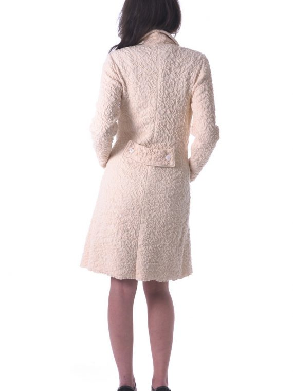 Cappotto bianco goffrato lana cotone elasticizzato artigianale