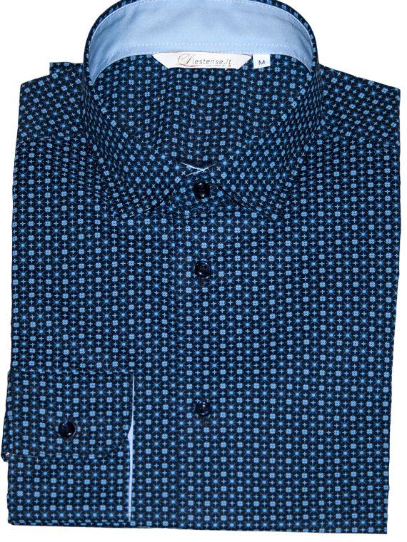 Camicia Uomo Blu Elettrico Punto Cravatta