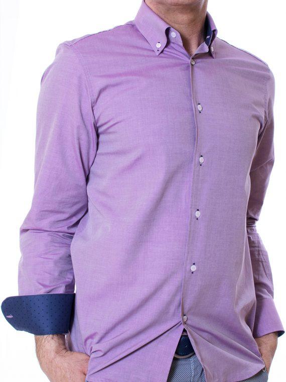 Camicia Uomo Glicine in Lino tela Twill 1