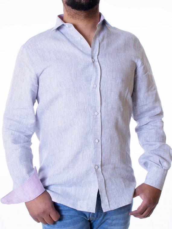 Camicia Uomo Pervinca in Lino tela Twill 1