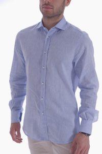 Camicia azzurra artigianale made in italy (1)
