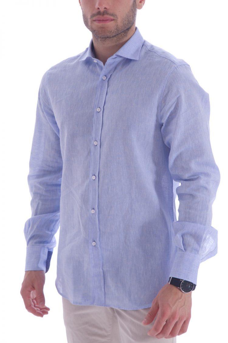 55a336c27a8209 Camicia Azzurra Uomo Lino Italiano - 100% Made in Italy - AgosSyle.it