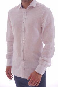Camicia lino artigianale su misura 100% italiano Lino slim sfiancata matrimonio (2)