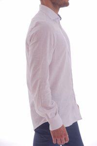 Camicia lino artigianale su misura 100% italiano Lino slim sfiancata matrimonio (3)