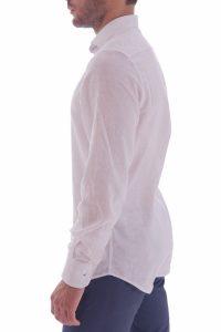 Camicia lino artigianale su misura 100% italiano Lino slim sfiancata matrimonio (4)