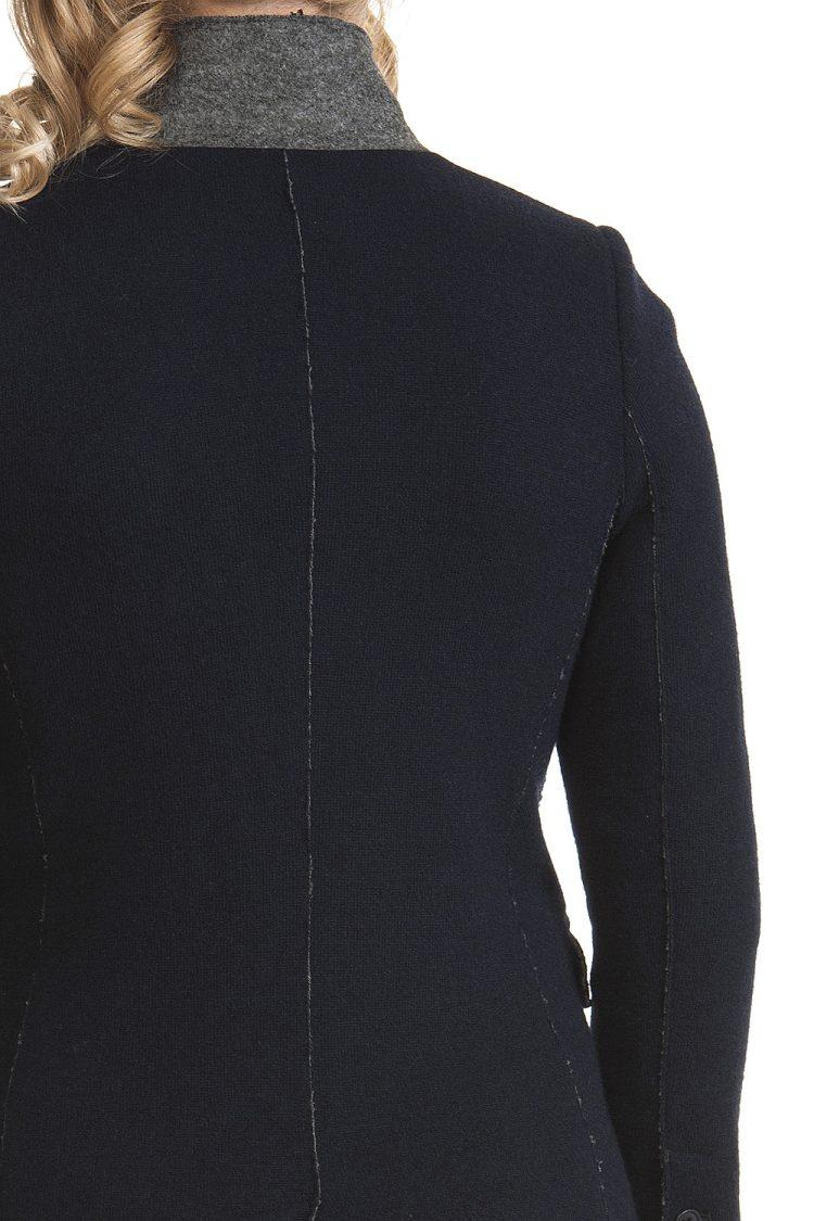 Cappotto Donna Lana e cotone Blu Linea Taglio