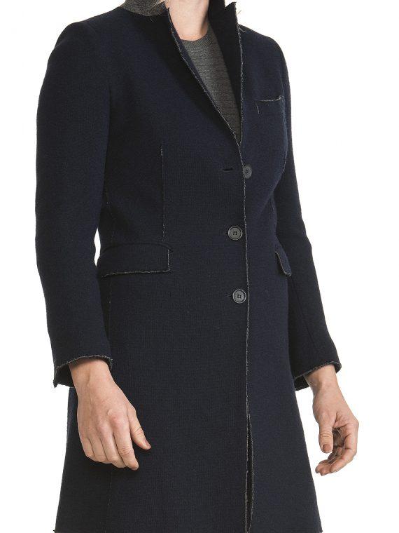 Cappotto Donna Lana e cotone Blu Linea Taglio 1