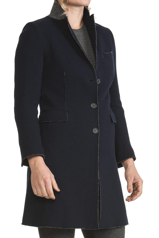new product 465d1 ed691 Cappotto Donna Lana e cotone Blu Linea Taglio