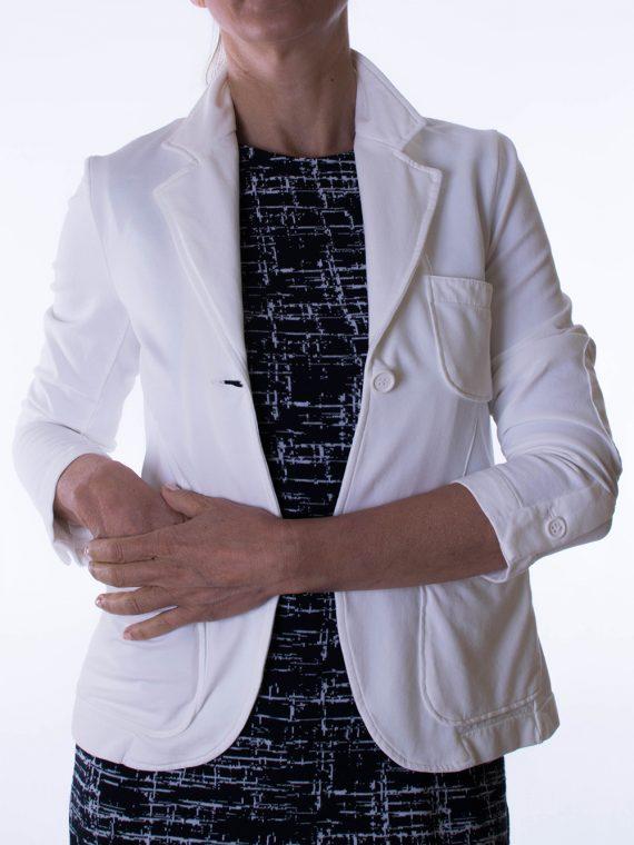Giacca Donna Bianco segnale Misto Cotone Taglio vivo