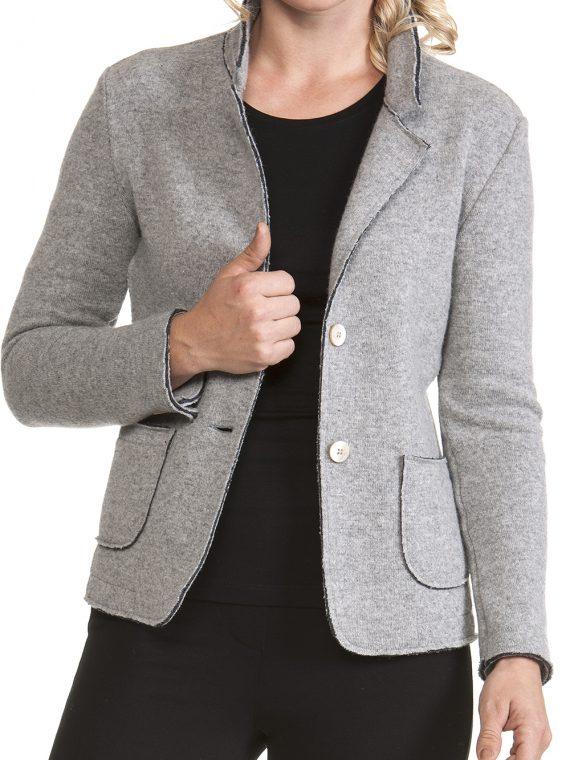 Giacca Donna lana e cotone non foderata Grigio Chiaro linea taglio 1
