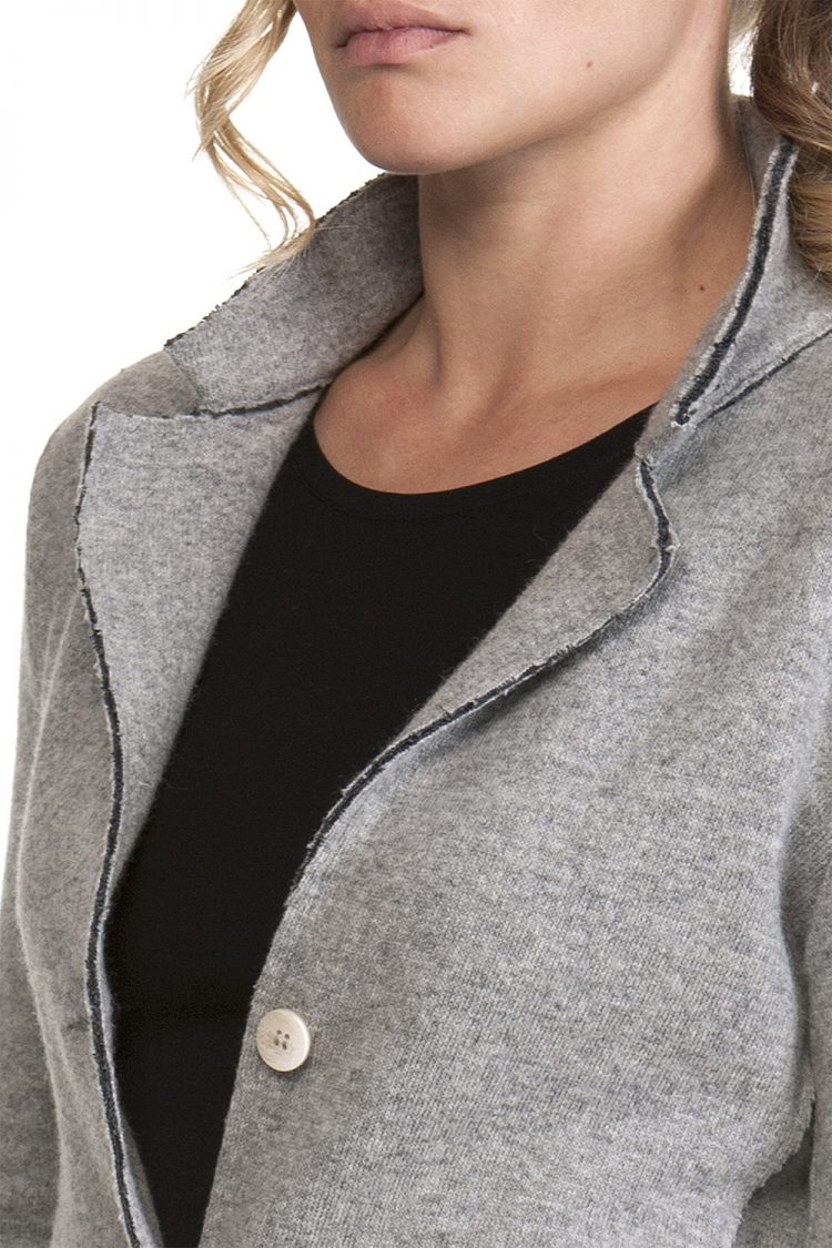 Giacca Donna lana e cotone non foderata Grigio Chiaro linea taglio