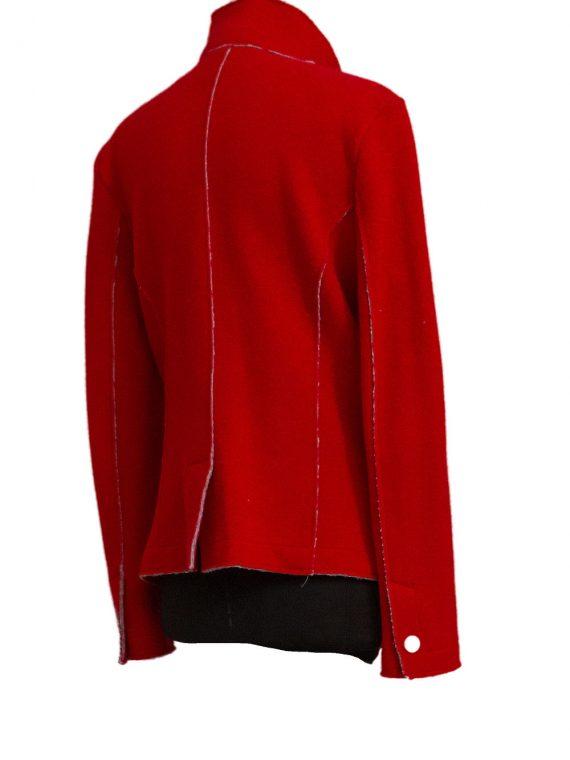 Giacca Donna lana e cotone non foderata Rosso Segnale linea taglio