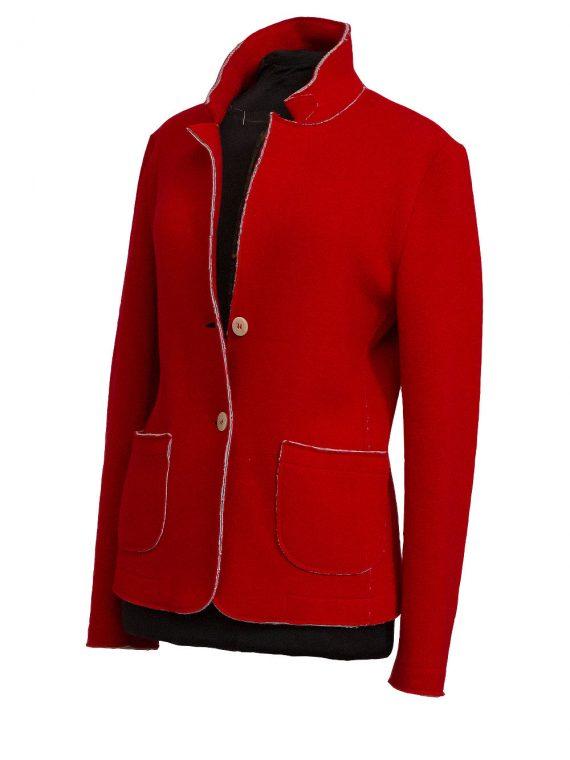 Giacca Donna lana e cotone non foderata Rosso Segnale linea taglio 1
