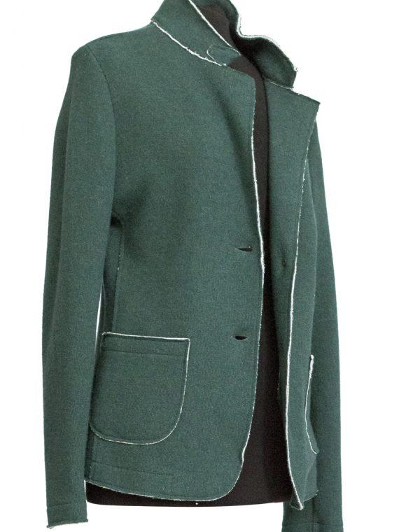 Giacca Donna lana e cotone Verde Acqua taglio vivo 1