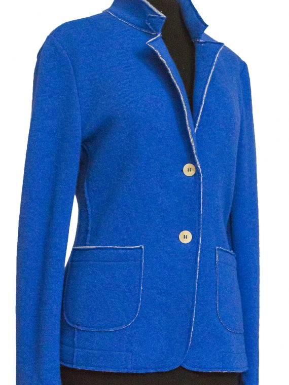 Giacca Donna lana e cotone non foderata Blu Elettrico Taglio Vivo 1
