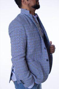 Giacca Uomo Blu e Bianco Trama Principe di Galles 7
