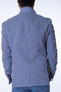 Giacca Uomo Blu e Bianco Trama Principe di Galles 6