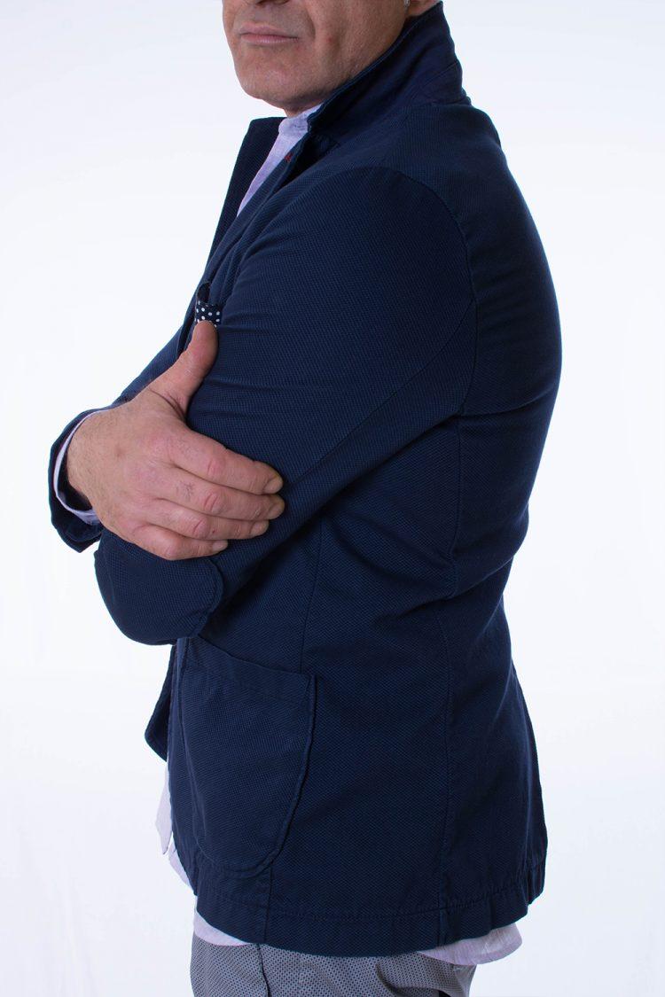 Giacca Uomo Blu Capri Misto Cotone Nuovo Taglio vivo