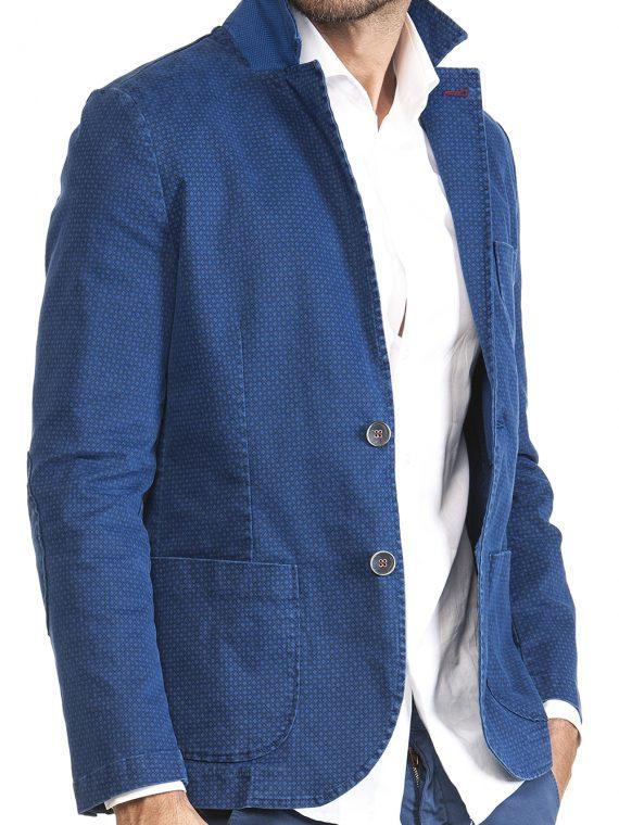 Giacca Uomo Blu Elettrico Punto Cravatta Scuro Cotone