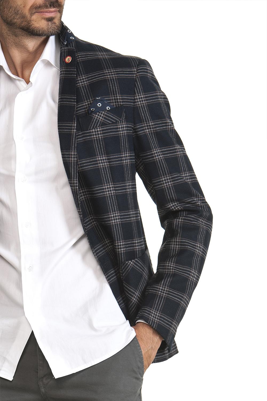 Giacca Uomo Blu Quadri e righe grigio chiaro Misto Viscosa pesante