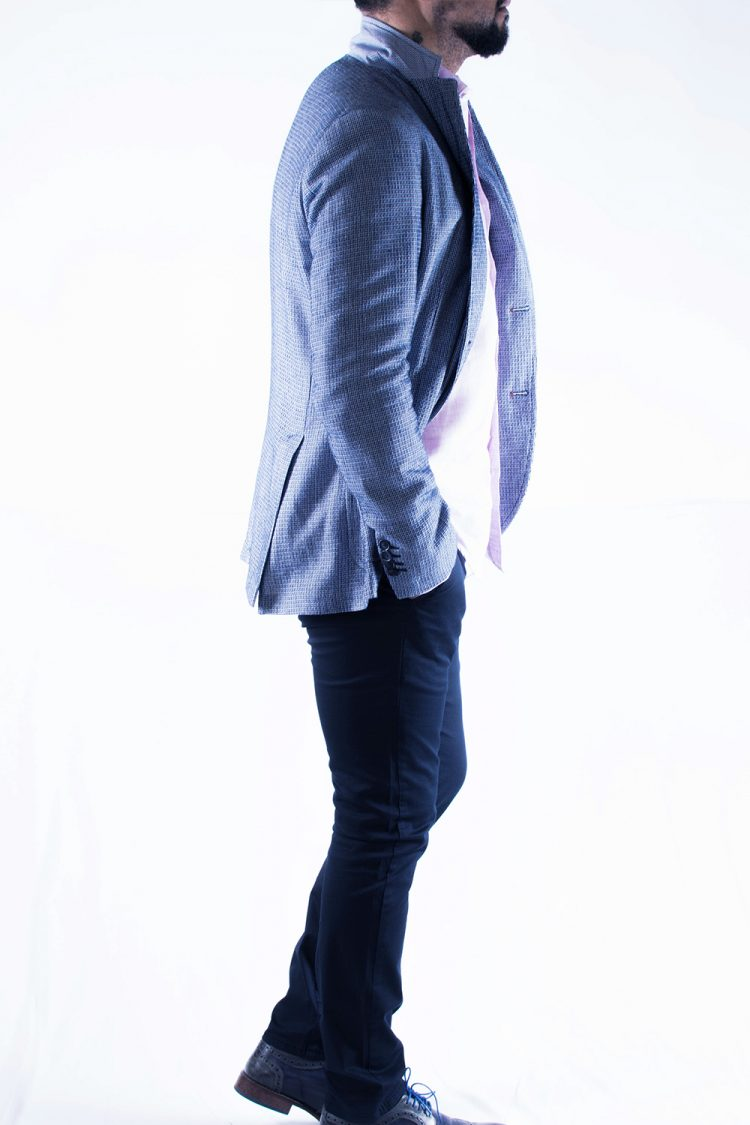 Giacca Uomo Blu e Bianco Trama Intrecciata Cotone