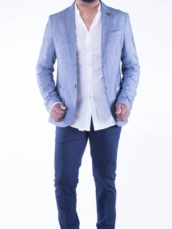 Giacca Uomo Blu e Bianco Trama Intrecciata Cotone 1