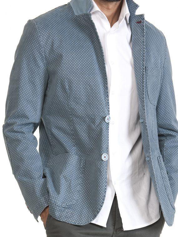 Giacca Uomo Celeste Punto Cravatta Scuro Cotone 1