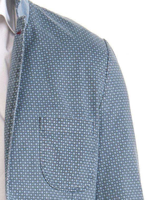 Giacca Uomo Celeste Punto Cravatta Scuro Cotone