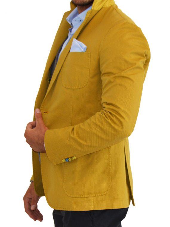 giacca uomo casual nera con puntini gialli