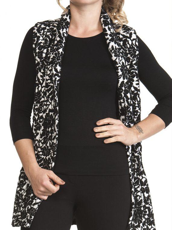 Gilet Lungo Donna Bianco nero lana cashmere a Fiori