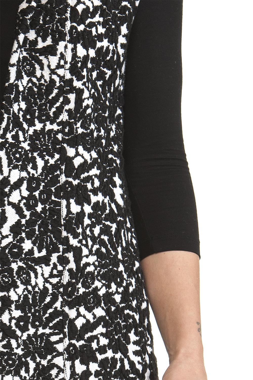 934cbd5b81 Gilet Lungo Donna Bianco nero lana cashmere a Fiori