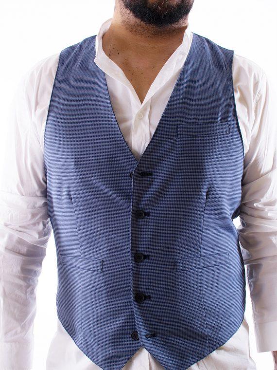 Gilet Uomo 5 bottoni Blu e bianco Oxford 100% Cotone 1