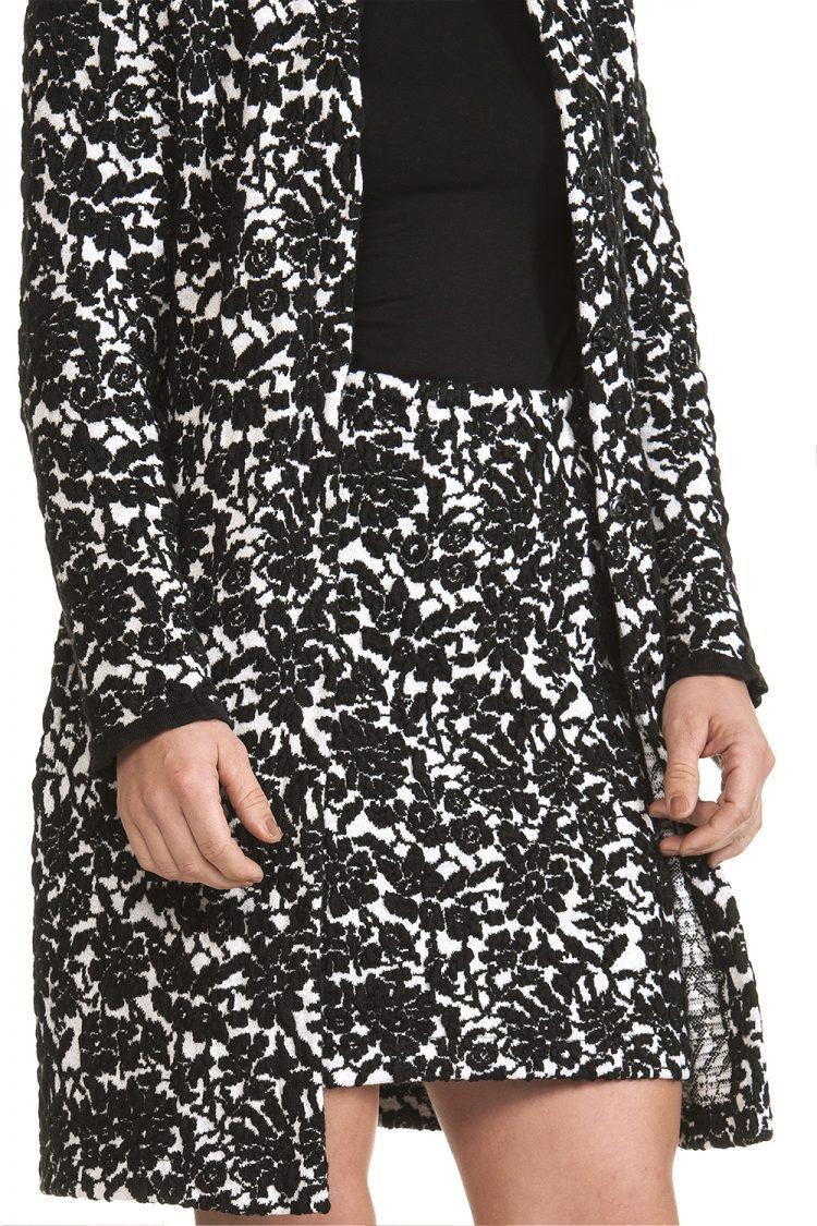 Gonna Donna Bianca nera lana cashmere a Fiori