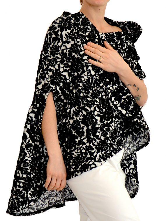 Mantella Donna Bianca nera lana cashmere a Fiori 1
