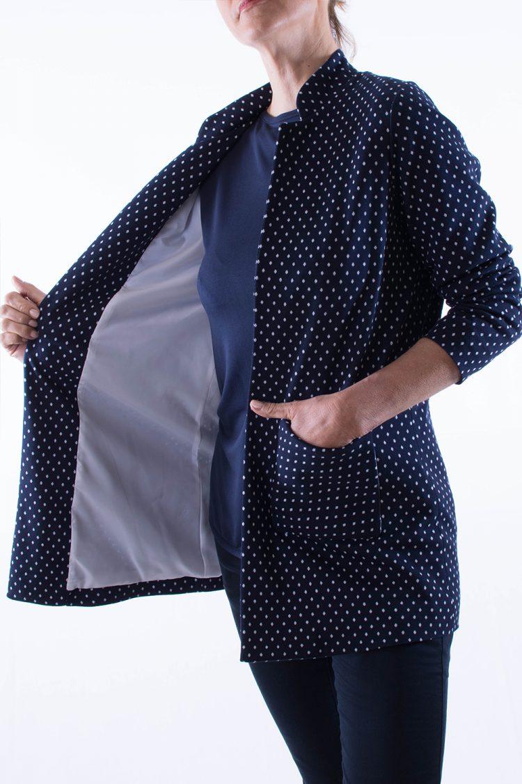 Spolverino Donna Bianco Blu a Pois cotone