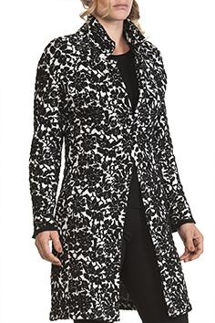 Spolverino Donna Bianco nero lana cashmere a Fiori 1