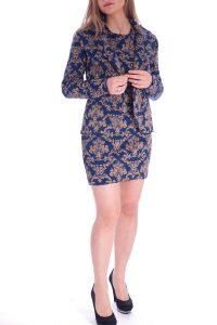 Vestito oro e blu elegante corto talier (12)