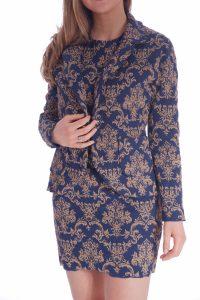 Vestito oro e blu elegante corto talier (7)