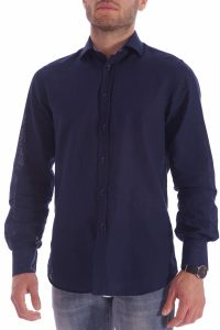 camicia lino blu italiana made in italy di qualità estate (1)