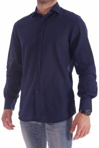 camicia lino blu italiana made in italy di qualità estate (2)