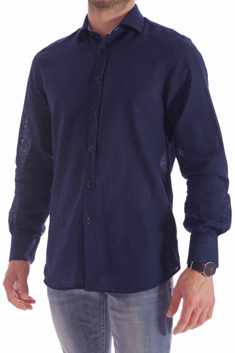 30f23a29878984 Camicia BLU Uomo Lino Italiano - 100% Made in Italy - AgosSyle.it